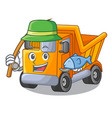 fishing truck on highway road with mascot vector image