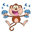 funny monkey character with cash money vector image vector image