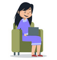 girl sitting with laptop on white background vector image vector image