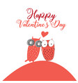 greeting card with lovers owls on a valentines day vector image