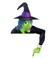 halloween witch pointing down vector image vector image
