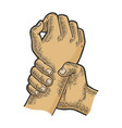hand catches other hand sketch engraving vector image