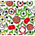 hand drawn seamless pattern with food vector image