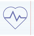 heartbeat sign navy line vector image vector image