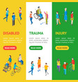 isometric disabled people characters banner vector image vector image