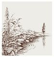 lake shore river bank artistic hand drawing vector image vector image
