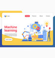machine learning landing page template vector image vector image
