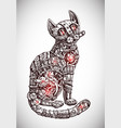mechanical cat hand drawn vector image vector image
