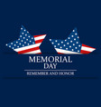 memorial day remember and honor star with flag of vector image vector image