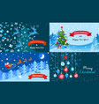 merry winter christmas banner set flat style vector image