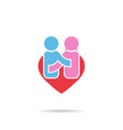 people happiness symbol in shape heart men and vector image vector image