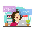 person student leaning or studying english vector image vector image