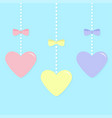 pink blue yellow paper hearts hanging on dash vector image vector image