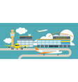 Plane and Airport Flat Design Object vector image