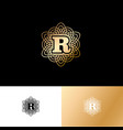r gold letter monogram gold circle lace ornament vector image vector image