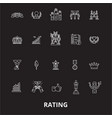 ratings editable line icons set on black vector image