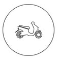 scooter black icon in circle outline vector image vector image
