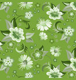 seamless green floral wallpaper vector image