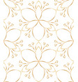 seamless linear golden flower pattern on white vector image vector image