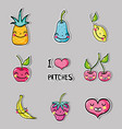 set tropical kawaii patches fruits design vector image