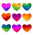 set watercolor rainbow hearts design vector image