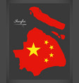 shanghai china map with chinese national flag vector image