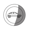 silhouette circular sticker with vehicle vector image vector image