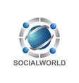 social world with globe and human character logo vector image