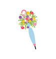 spring flowers in umbrella vector image