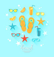 summer theme with food and objects vector image vector image