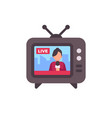 tv set with live news on screen flat icon vector image