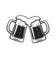 two toasting beer mugs cheers clinking glass vector image