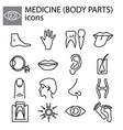 web line set medicine body parts black on white vector image vector image