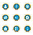 winter home icons set flat style vector image vector image