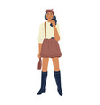 woman in skirt and high leather boots autumn style vector image