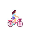 young girl riding a bike bicycle isolated on vector image vector image