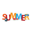 3d summer banner logo or label design vector image