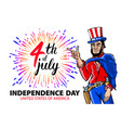 a men celebrating independence day poster vector image vector image