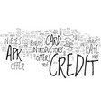 apr credit cards tips tricks text word cloud vector image vector image