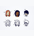 avatar set pretty different nationality girls vector image