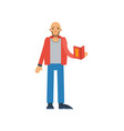 bald man with book icon vector image
