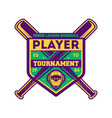 baseball player tournament vintage label vector image
