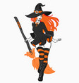 beautiful sexy witch with a broom vector image vector image