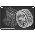 car engine and wheel on a black vector image vector image