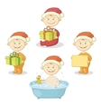 Cartoon children in Santa hat vector image