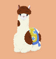 cartoon llama on an orange background vector image vector image