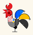 chicken abstract geometric design vector image