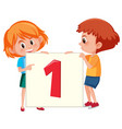 children holding number one banner vector image