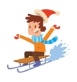 Christmas boy playing winter games vector image vector image