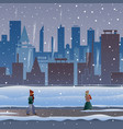 city in the snow people go through a snowstorm vector image vector image